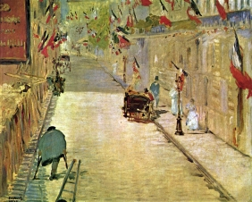 Stampe famose Manet RUE MOSNIER CON BANDIERE