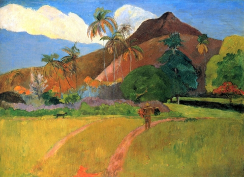 Stampe famose Gauguin  Montagne a Tahiti