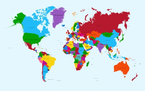 Stampe famose Various Artists  Colorful World map