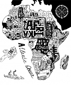 Stampa Mappe geografiche Various Artists AFRIKA BLACK