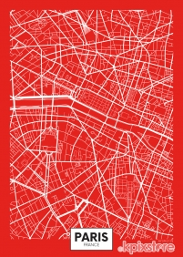 Stampa Mappe geografiche Various Artists RED PARIS MAP